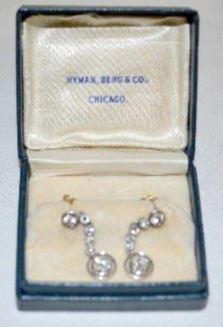 Pair of Diamond, Platinum & 14K Gold Earrings