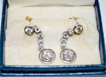 Pair of Diamond, Platinum & 14K Gold Earrings - 2