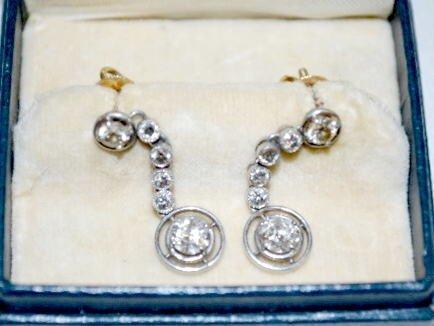 Pair of Diamond, Platinum & 14K Gold Earrings - 3