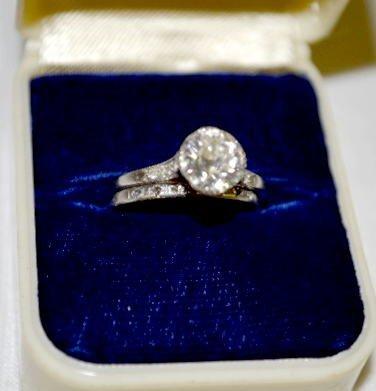 Platinum & Diamond 2 Pc Ring Set by Peacock