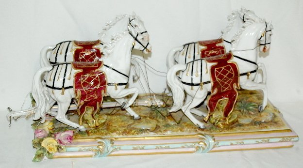 Volkstedt Porcelain Horse Drawn Carriage - 2