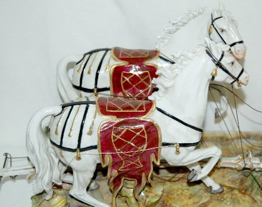 Volkstedt Porcelain Horse Drawn Carriage - 4