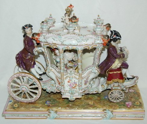 Volkstedt Porcelain Horse Drawn Carriage - 5