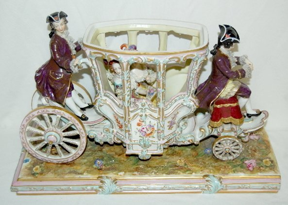 Volkstedt Porcelain Horse Drawn Carriage - 7