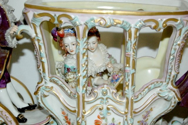 Volkstedt Porcelain Horse Drawn Carriage - 8