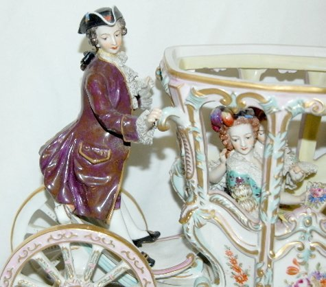 Volkstedt Porcelain Horse Drawn Carriage - 9