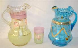 2 Victorian Enameled  Glass Pitchers  Tumbler