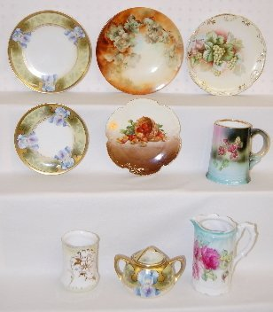 9 Floral China Items, RS Germany, Bavaria +