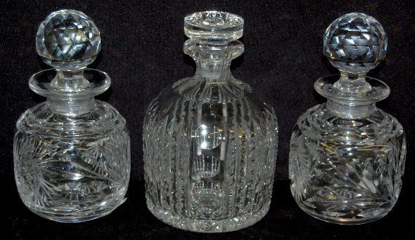3 Cut Glass Bottles with Stoppers