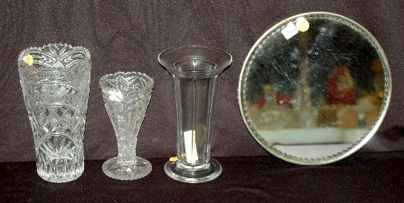 3 Clear Pressed & Pattern Vases & Mirror Plateau