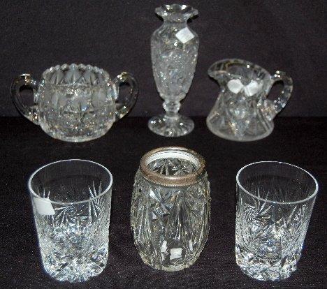 6 Cut Glass Tableware Items, Creamer, Sugar +