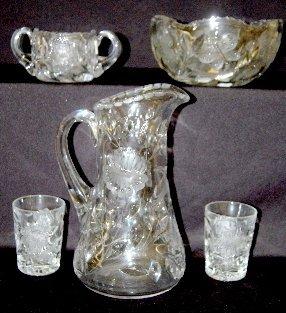 9  Pressed & Wheel Cut Glass Tableware Items