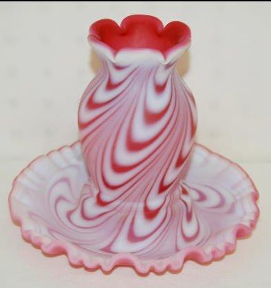 Fenton Rose Satin Swirled Feather Fairy Light