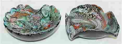 2 Murano Art Glass Ashtrays