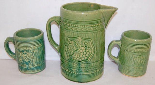 8 Piece Green Stoneware Mug Set