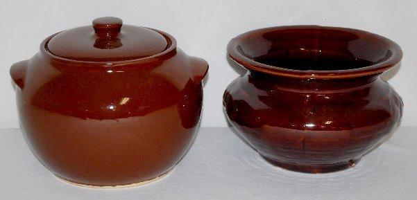 Brown Glaze Stoneware Bean Pot and Spittoon