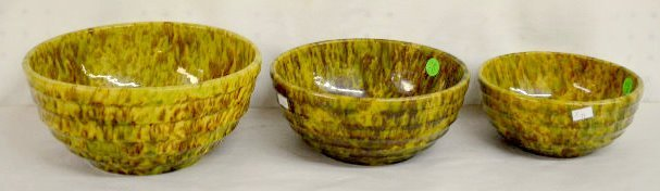 3 Stoneware Spongeware Bowls, Terrace Banded