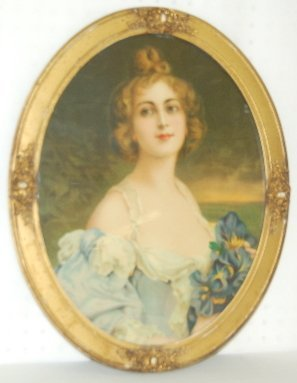 Antique Oval Framed Lady Print