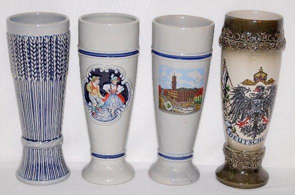 4 German Stoneware 1/2 Liter Pilsners