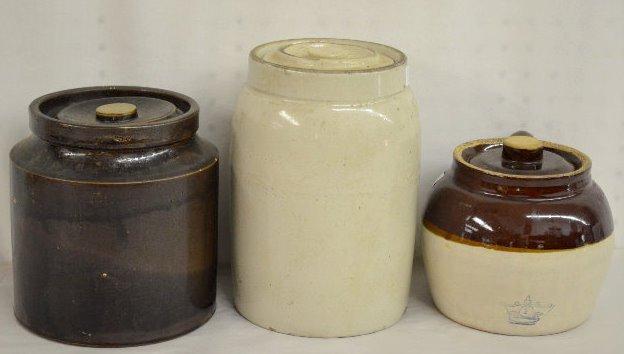 3 Stoneware Cookie Jars