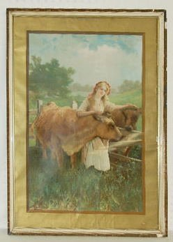 1906 Antique Framed Lithograph, Girl and Cattle