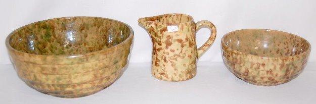 3 Spongeware Stoneware Serving Items