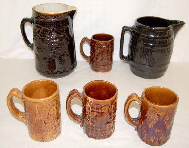 6 Stoneware Pitchers and Mugs