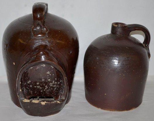 2 Brown Glaze Beehive Jugs