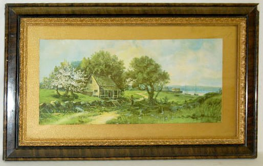 Antique Frame w/Country Cottage Scene Print