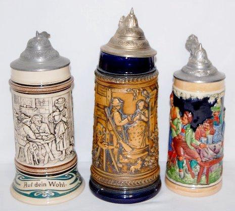 3 German Pottery 1/2 Liter Steins w/Pewter Lids