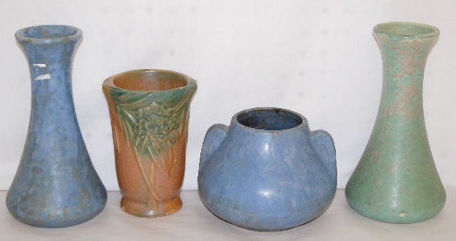 4 McCoy Vases, Vellum and Floral