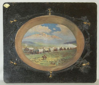 """Antique Framed Print, """"The Covered Wagon"""""""