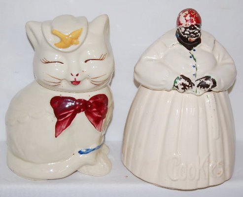 2 Figural Pottery Cookie Jars, Cat & Mammy