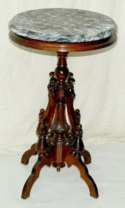 Antique Carved Round Marble Top Chess Table