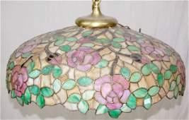 Antique Leaded Glass Hanging Light Fixture