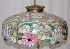 Leaded Glass Hanging Light Fixture Lotus Blossom