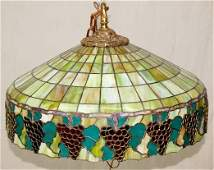 Leaded Glass Hanging Light Fixture with Grapes
