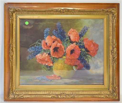Framed Orange Poppy Print M Streckenbach