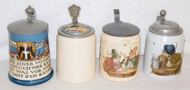 4 German 1/2 L Steins, Mettlach/Villeroy & Boch +