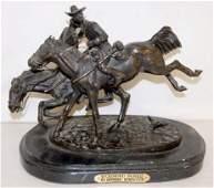 F Remington Wounded Bunkie Bronze Figure