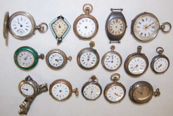 16 Small Silver Watches and Cases, Swiss +