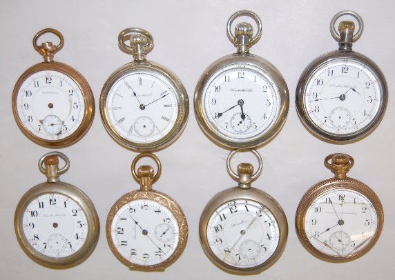 8 Hamilton Open Face Pocket Watches, 16-18 Size