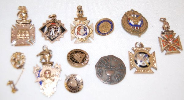 12 Watch Chain Charms & Other Lodge Pieces