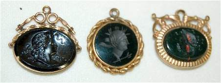 3 Victorian Watch Chain Charms Intaglio  Relief