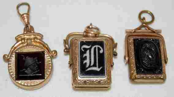3 Victorian Watch Chain Charms