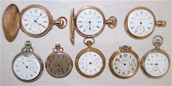 8 Hampden Pocket Watches, 16-18S, 2 HC & 6 OF