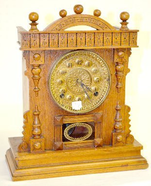 "Gilbert Oak ""Favorite F"" Cabinet Clock"