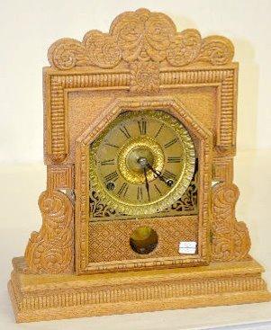 Ingraham Oak Cabinet B Mantel Clock