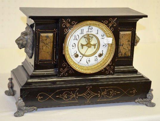 "Ansonia ""Venice"" Enameled Iron Case Mantel Clock"