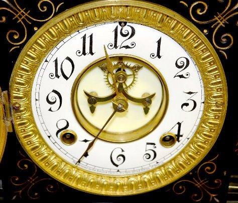 "Ansonia ""Venice"" Enameled Iron Case Mantel Clock - 4"